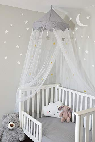 Nomad Nets Crib Canopy For Girls Bed - Premium Bed Canopy for Girls and Boys - Fits all Cribs and Beds - White Bed Net - Gray Top-Crown - Hanging Bed Net with Easy Installation Kit
