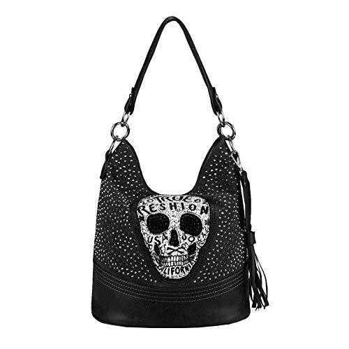 OBC Damen Totenkopf Skulls Tasche Strasssteine Glitzer Bowling Handtasche Shopper XL Beuteltasche Schultertasche (Schwarz 34x29x18 cm)