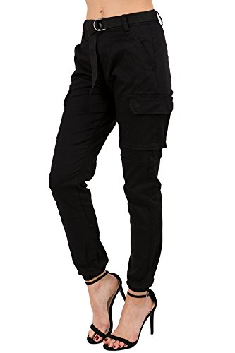 TwiinSisters Women's High Waist Slim Fit Color Cargo Joggers Pants with Matching Belt - Small, Black