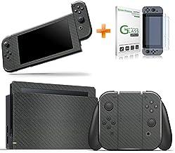 Kit Skin Adesivo Protetor 4D Fibra de Carbono Nintendo Switch + Película de Vidro (Cinza)