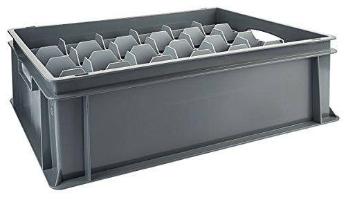 Contacto Einsatz für 24 Gläser, oben, Kunststoff, geeignet für 60 x 40 cm Transportboxen, max. Glasdurchmesser 8,5 cm