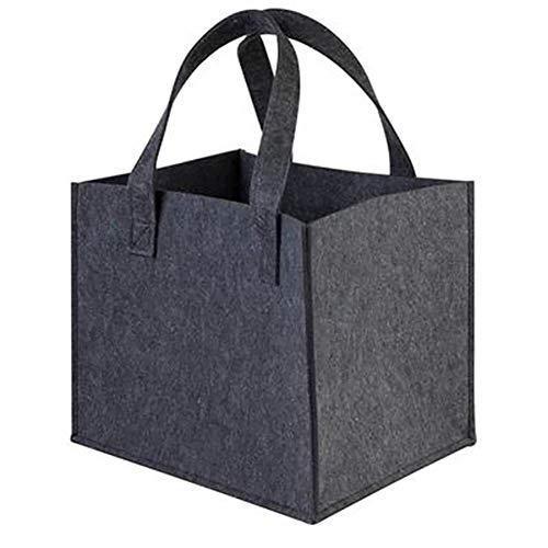 Bledyi Kaminholz Aufbewahrungstasche aus Filz, tragbar, für Kaminholz, schwarz 1, 36 * 42 * 34CM
