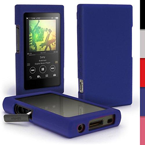 iGadgitz U6410 Azul Funda Carcasa Silicona Case Compatible con Sony Walkman NW-A35 NW-A40 NW-A45 Reproductor de MP3 + Protector de Pantalla