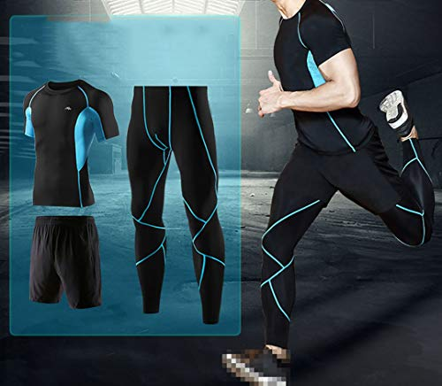 Luoshan Men's Fitness Suit, Breathable and Quick-Drying Reflective Tight Compression Three-Piece Suit, Suitable for Fitness Body/Running (Size : S-USA/EU)