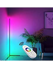 TBOYUAN RGB Floor Lamp, Corner Floor Lamp with Remote Control, RGB Colour Changing Atmosphere Standing lamp, Aluminum Alloy Minimalist Floor Lamp, Light for Living Room Decor, for Party