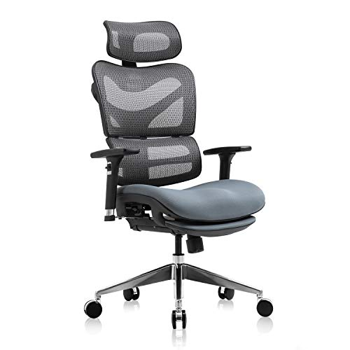YAMASORO Ergonomic Office Chair, High Back Reclining Breathable Mesh Desk Chair, Lumbar Support, Swivel Computer Task Chair with Adjustable Armrest and Headrest Gray