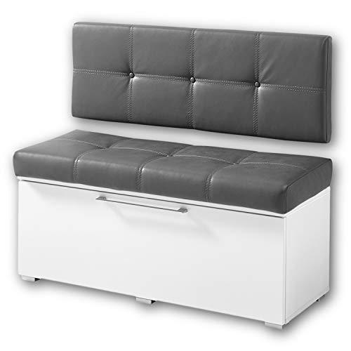 RENO Sitzbank mit Lehne, Weiss Hochglanz / Grau - bequeme Schuhbank mit Sitzfläche & Stauraum für Ihren Flur - 100 x 45 x 40 cm (B/H/T)