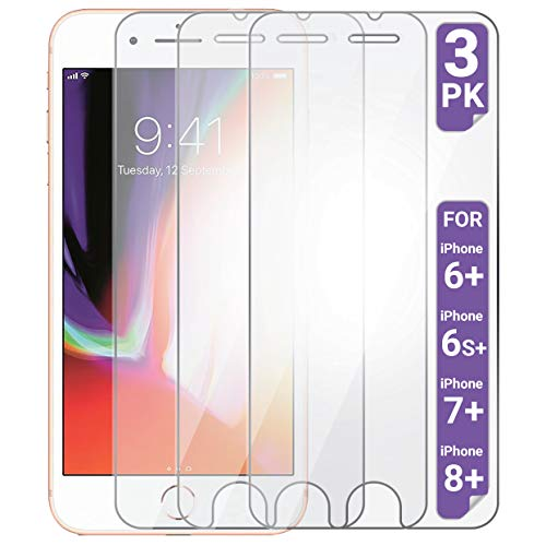 Aduro Screen Protector for Apple iPhone 8 Plus/7 Plus/6 Plus/6s Plus 5.5-inch (NOT 4.7), Shatterguardz Tempered Glass Shatter Proof Film, 3 Pack