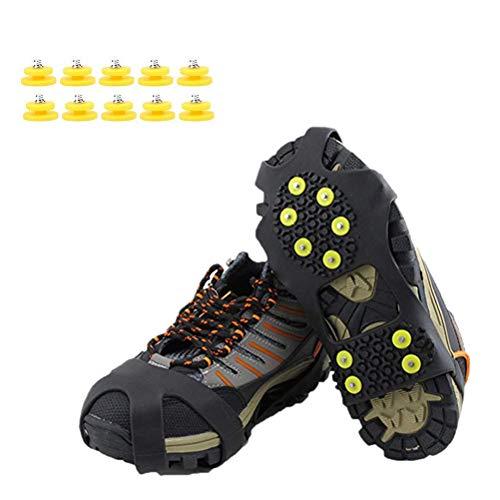 Mallalah 1 par de crampones de 10 Dientes para Exteriores Cubiertas Antideslizantes Zapatillas de Hielo para Hielo y Nieve Zapatillas con 10 uñas de Repuesto Size L