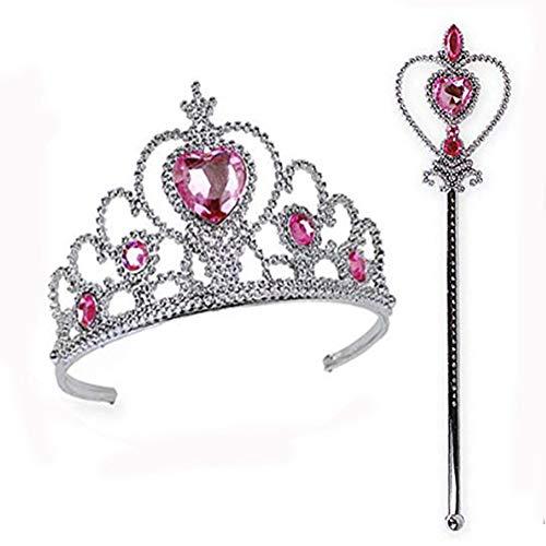 Corona tiara principessa Set, Princess Crown Tiara, per la Festa Compleanno Bambine per Bambini e la Finzione Halloween (Rosa Rossa)
