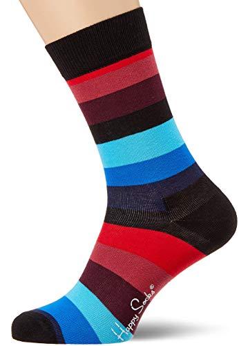 Happy Socks, bunt klassische Baumwolle Socken für Männer und Frauen, Schwarze Stripe (41-46)