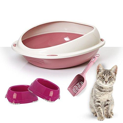 Katzenklo-Set mit hohem Rand: 2Näpfe und Schaufel