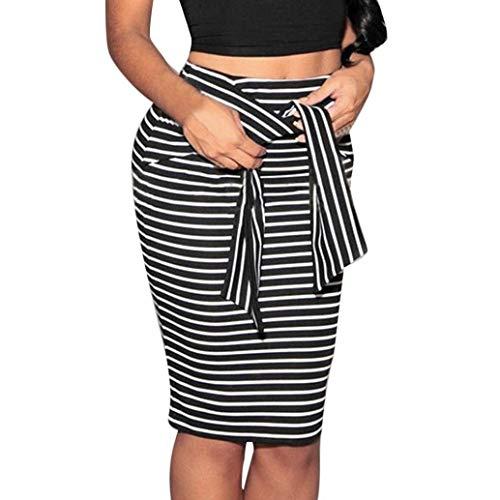 Rock Ladies Summer Lhwy Women Business A Gonna Classiche Righe Slim Short Ragazzi Gonne A Forma di Arco Tied Dress To Knee Gonne Strette (Color : Schwarz, Taglia Unica : S)