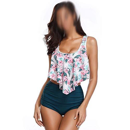 JFTMY Set de Bikini de tamaño Grande Mujeres de 2 Piezas Bikini INTALMANTE Halter Halter Floral Respuesta DE BAÑO por Flores Traje de baño (Size : XXX-Large)
