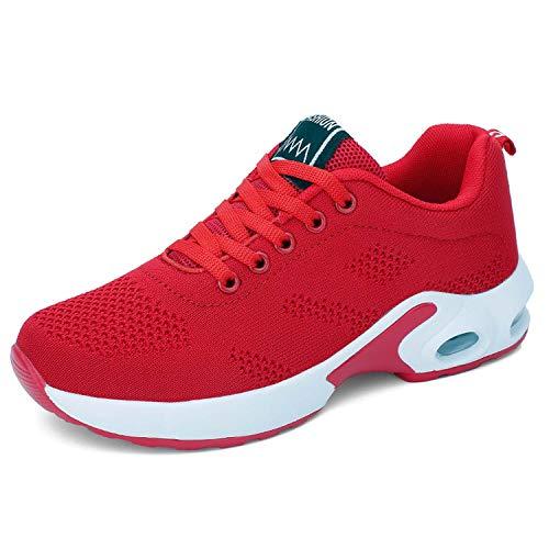 Lanivic Damen Turnschuhe Laufschuhe Atmungsaktive Sportschuhe Luftkissen Wanderschuhe Athletisch Sneakers Rot 39