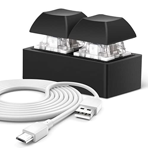 Ecarke 3D Printing Mini USB-Micro Interface 2-Key One-Handed Mechanical Gaming Keypad OSU HID Programming Macro Keys Blue Switches Weak Blue Light with 1 M USB Cable