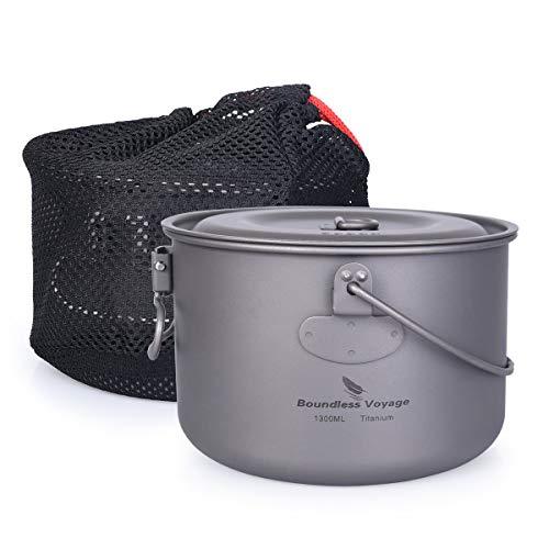 iBasingo Titan Topf Pfanne Set für 1 Person Camping Bowl Set Leichte Titankantine Outdoor-Kochgeschirr Koch-Mess-Kit mit Klappgriff 1/2/3 Stücke/Set