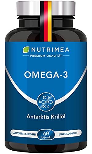 Krillöl Kapseln - ANTARKTIS Omega 3 - Natürliches Krill Öl aus nachhaltigem Wildfang - 100% Reines Fischöl OHNE Zusätze - Hochdosiert an DHA, EPA, Astaxanthin