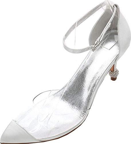 Zapatos de tacón con diamantes de imitación para mujer, correa al tobillo, puntera puntiaguda, para novia, corte de novia, transparente, color Plateado, talla 36.5 EU