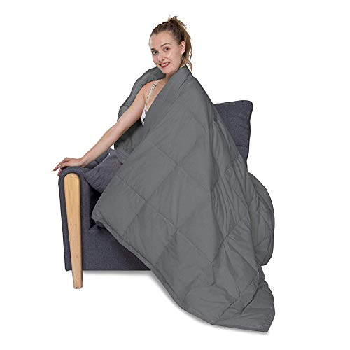 HOMBYS 50x70in Lightweight Down Throw Blanket Packable Down Blanket for Couch Adults & Kids Sleeping Napping Camping Traveling Blanket Grey