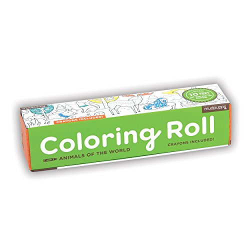 Mudpuppy Animals of the World Coloring Roll – Age 3+ - 10 Feet of Creative Coloring Fun – Includes 6 Crayons – Animal Paper Roll Easy to Store, Take on the Go – Great for Individual or Group Coloring