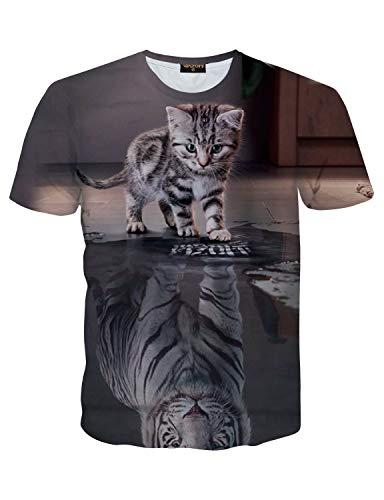 PIZOFF Unisex Print Schmale Passform T Shirts mit Karikatur Katze 3D Druckmuster Katze und Tiger AL067-23-M