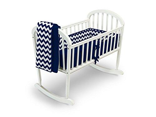 Baby Doll Bedding Chevron Cradle Bedding Set, Navy