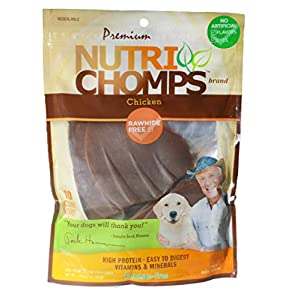NutriChomps Dog Chews, Ear-Shaped, Easy to Digest, Long Lasting, Rawhide-Free Dog Treats, 10 Count, Real Chicken Flavor