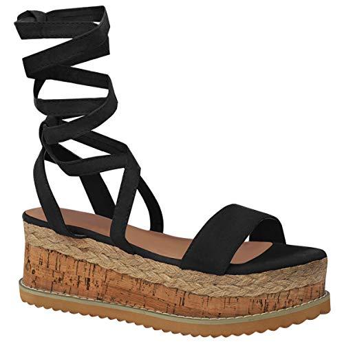 Fashion Thirsty Heelberry® Donna Forma Piatta Sughero Espadrille Sandali con Zeppa Caviglia Lacci Scarpe - Nera Pelle Scamosciata, 41