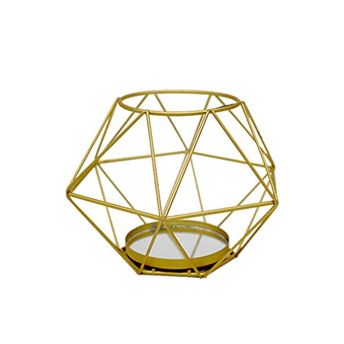 niumanery Nordic Style 3D Geometric Candlestick Metal Iron Dinner Candle Holder Wedding Party Home Decor D