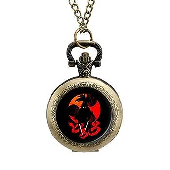 ZHENGJC Hyakkimaru Dororo Blood Lust Wearable Metal Necklace Pocket Watch Digital Scale Personalized Pattern Pocket Watch