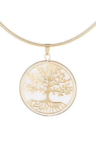 Córdoba Jewels | Gargantilla en Plata de Ley 925 bañada en Oro con nácar. Diseño Árbol de la Vida Nácar Gold