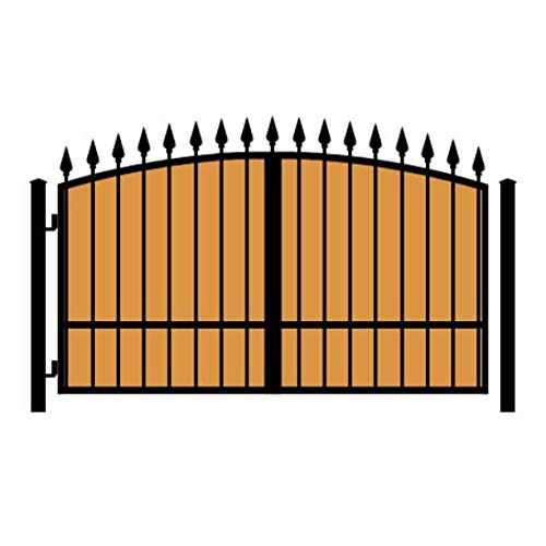 StandardGates - Wooden Wrought Iron Driveway Gate Kit - 10 ft 0 in, Solo Swing, Single Pickets, Vertical Ironwood, Arched, Finials