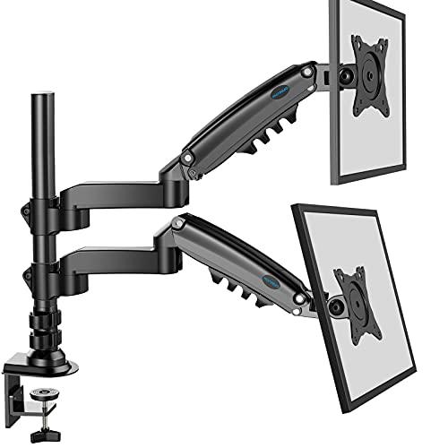 HUANUO 17-32 Zoll Monitor Halterung 2 monitore Höhenverstellbar, Gasdruckfeder Arm 360°Drehbar, für LED LCD Bildschirm, VESA 75/100