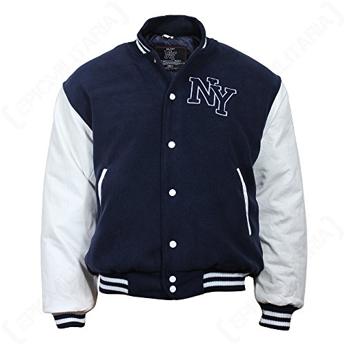 Mil-Tec NY Baseball Jacke mit Patches (Navy/Weiß/L)