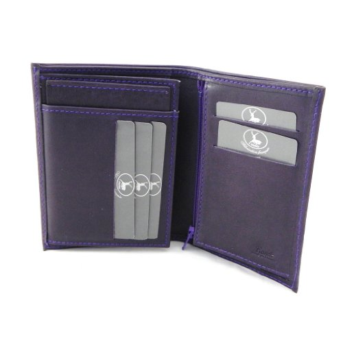 Wallet cuoio 'Frandi' mirtillo raso (europeo).