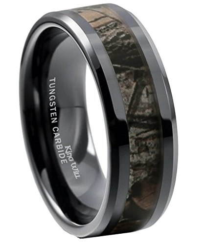 King Will 8mm Mens Black Tungsten Carbide Ring Camo Camouflage Comfort Fit Wedding Band (14.5)
