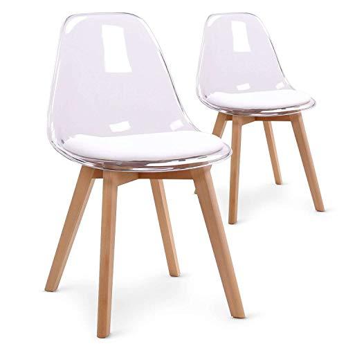 Set di 2 sedie scandinave Bovary Plexi, colore: bianco