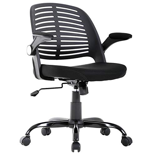 Office Chair Cheap Desk Chair Mesh Computer Chair with Lumbar Support Flip Up Arms Executive Mid Back Modern Ergonomic Chair for Adults Women Men,Black