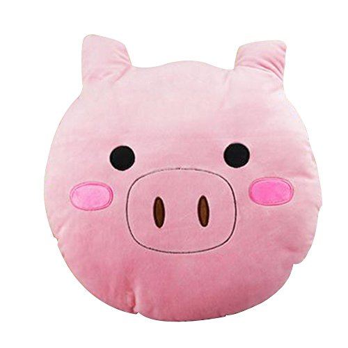 Japace Cute Soft Emoji Toys, Smiley Emoticon Pink Round Stuffed Plush Pig Toy Pillow Cushion - Blush