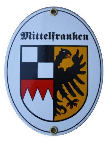 Mittelfranken Emaille Schild 11,5 x 15 cm Emailschild Oval.