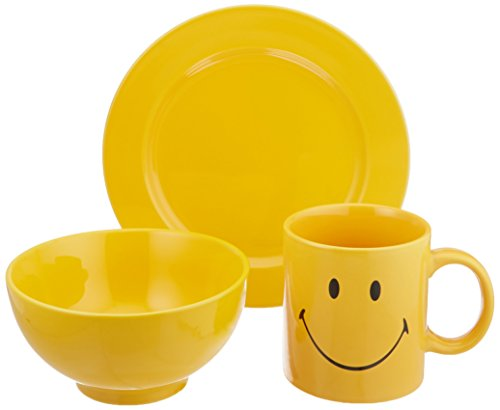 Waechtersbach S3BSBC6015 Breakfast Set, Includes Smiley Mug, Cereal Bowl and Salad Plate, Buttercup