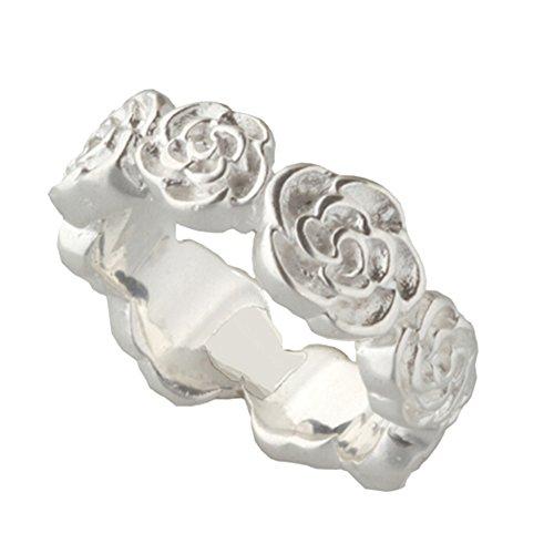 Skielka Designschmuck Silber Rosen Ring - 9 mm breit - hochwertige Goldschmiedarbeit (Sterling Silber 925) Rosenring - Damenring