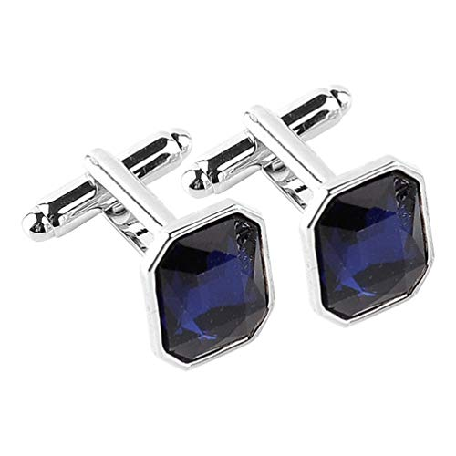 Happyyyami Manschettenknöpfe aus Kristallstein, Strass, Opal, Vintage-Krawatten-Clip, Manschettenknöpfe, Hemd-Dekoration, dunkelblau dunkelblau