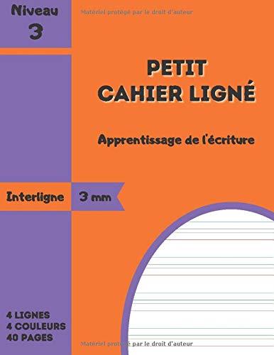 PETIT CAHIER LIGNÉ avec 4 Lignes de Couleurs: Interlignes 3 mm - Facilite l'apprentissage de l'écriture - Adapté aux enfants DYS (dyspraxie, ... dysorthographie) - Petit Format 17 x 22 cm