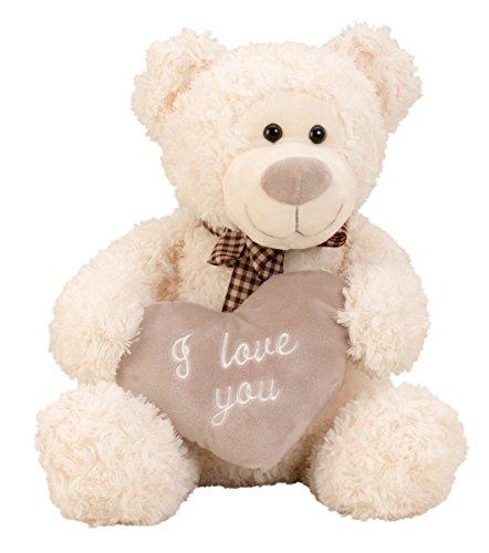 Geschenkestadl Bär mit Schleife und Herz I Love You Kuschelbär 32 cm Teddy Kuscheltier Teddybär Liebe