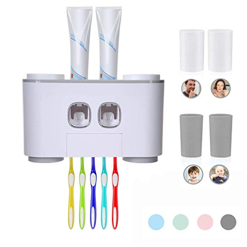 FXY Automatischer Zahnpastaspender und Zahnbürsten-Set, Zahnpastapresse mit 5 Bürsten und 4 Bechern (grau)