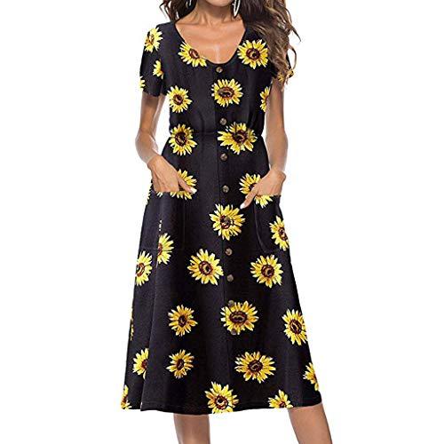 MAYOGO Damen Kleider Kleider Sommer Damen Lang Blumen Midi Sommerkleid Button Down Kurzarm Empire Kleid mit Tasche