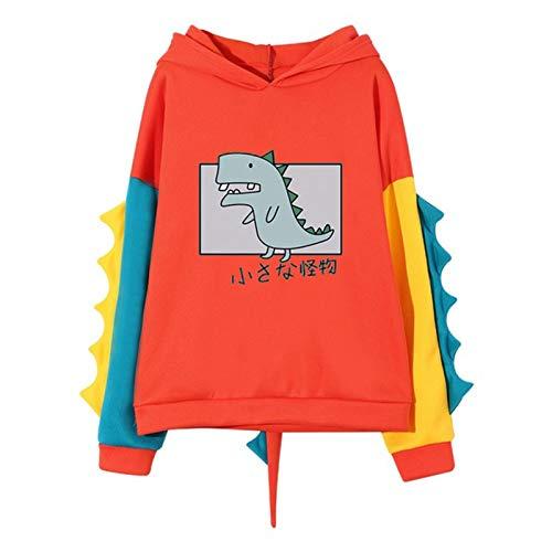 MEITING Hoodie Damen Sweatshirt mit Kapuze Warm Süßer Dinosaurier Karikatur Kapuzenpullover Mädchen Herbst und Winter Pullover für Party Reisen Tägliche Teenager Mode Mädchen Pullover Bluse Tops