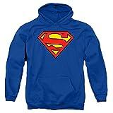 Superman Classic Logo Pull-Over Hoodie Sweatshirt & Stickers (Medium)